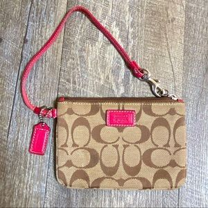 Coach Signature Wristlet With Pink Leather Strap